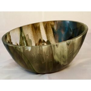 French vanilla and streaky turquoise altum bowl - contemporary glassware hand made in Ireland by Keith Sheppard Glass Artistry