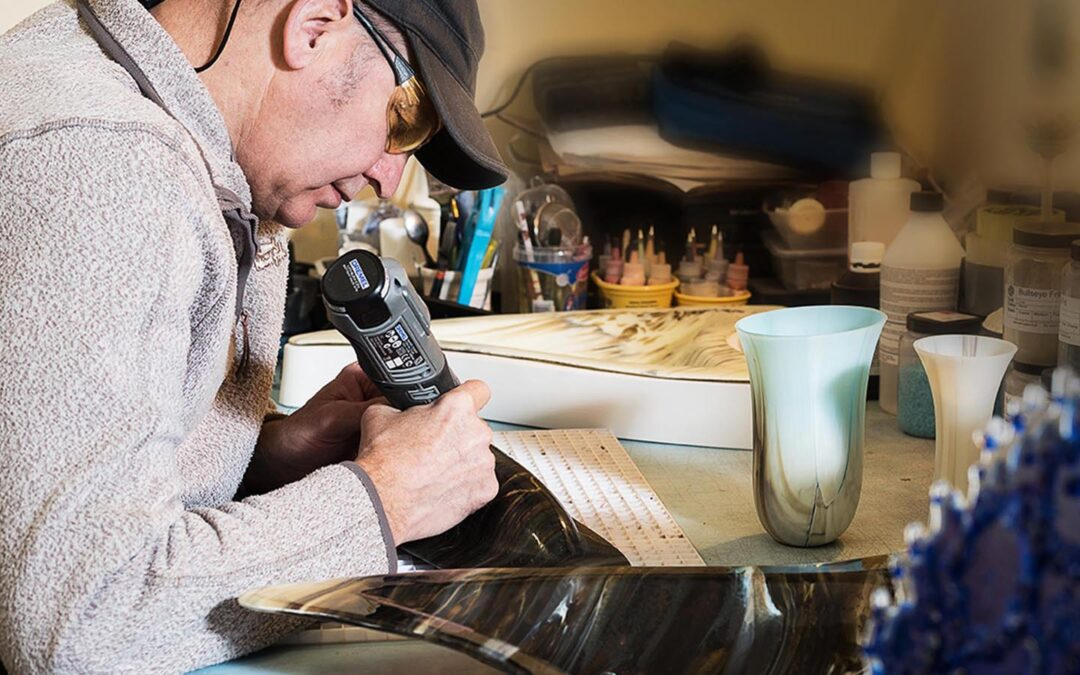 Irish glassware and glass sculpture artist Keith Sheppard at work in his Irish glassware studio in County Armagh, Northern Ireland